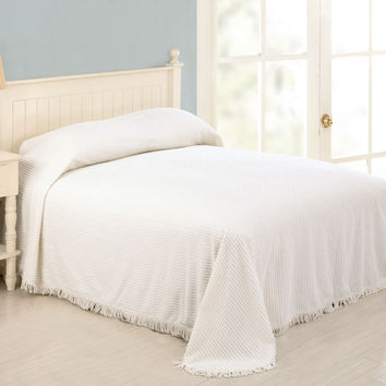 King Size 100-Percent Cotton Chenille Bedspread with Fringed Edges in White