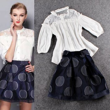 Sheer Meshed Sleeves Ruched Cardigan Top Dotted  Mini Skirt