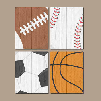 SPORTS Wall Art Canvas or Prints Distressed Wood Effect Baby Boy Nursery Boy Bedroom Balls Soccer Football Baseball Basketball Set of 4