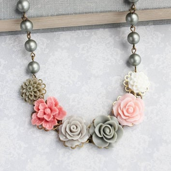 Sage Green Floral Necklace Rose Necklace Statement Jewelry Light Grey Sage Green Rose Pearl Chain Flower Bib Necklace Unique Romantic