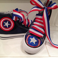 Captain America Custom Gem Toe Shoes by PeachPieJewellery on Etsy