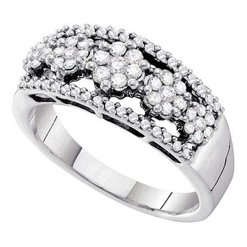 14kt White Gold Women's Round Diamond Flower Cluster Cocktail Band Ring 1/2 Cttw - FREE Shipping (USA/CAN)