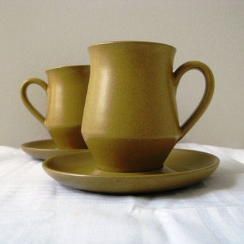 Vintage Mugs Denby Ode Pattern 2 Cups and Saucers by pillowsophi