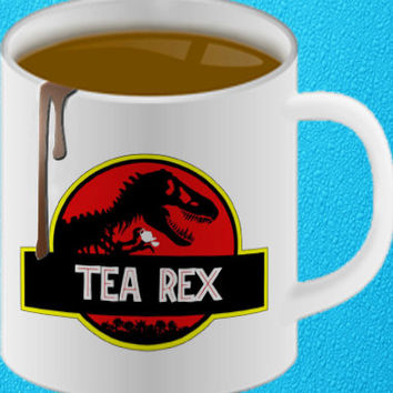 Tea Rex Dinosaur Novelty Coffee Tea Mug Cup Gift Jurassic Park Inspired Movie amazing mug gift  heppy coffee.