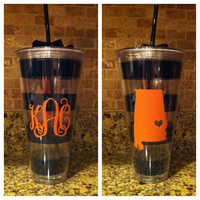 Giant Auburn Striped Cup  Monogrammed by AbigailLeeHome on Etsy