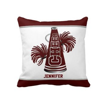 Maroon and White Megaphone Cheerleader Pillow