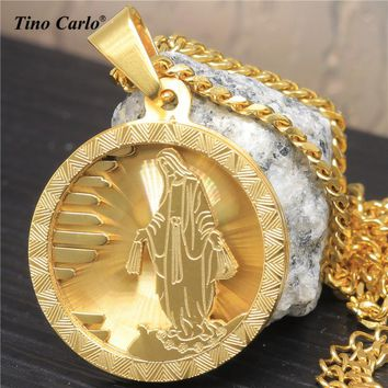 Men's Stainless Steel Golden Jesus Medal Necklace Virgin Mary Piece Pendant Chain LQ1614