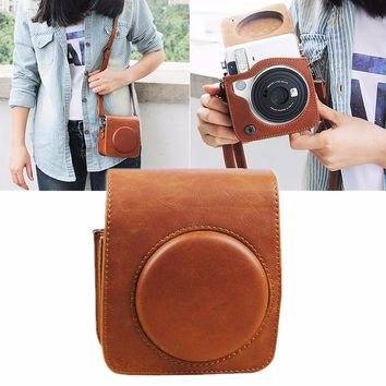 Brown PU Leather Shoulder Strap Case Bag For Fujifilm Instax Mini 70 Camera Storage Bags