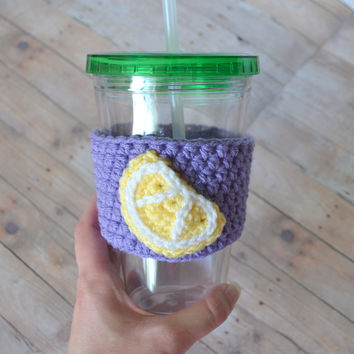 Lemonade Tumbler Jar Cozy, Crochet Lemon Cozy, Summer Drink Cup, Drinking Glass, Crochet Citrus, Iced Tea Glass