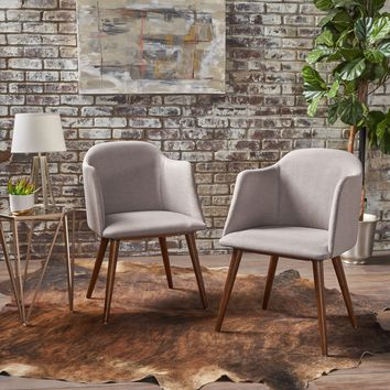 Riley Mid Century Fabric Dining Chairs w/ Wood Finished Frame (Set of 2)