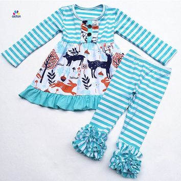 Cotton ruffle baby girl children boutique clothes clothing sets cute autumn winter kids outfits