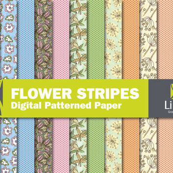 Spring Flowers Digital Paper Pack, Floral Digital Paper, Spring Digital Paper, Floral Paper, Flower Background, Flower Paper, Floral Pattern