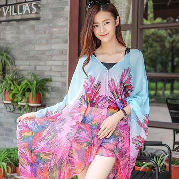 DCCKJG2 Large Chiffon Sunscreen Beach Tunic Shawl Scarfs Flower Poncho Cape Scarf Women Kaftan Kimono Bikini Beachwear Swimsuit Cover Up