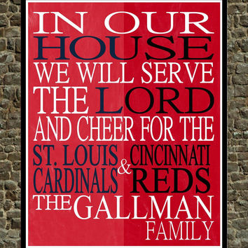 Customized Name St. Louis Cardinals & Cincinnati Reds Baseball personalized family print poster Christian sports wall art - multiple sizes
