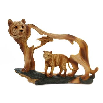 Animal TIGER WOODLIKE CARVING Polyresin Cat Family Mmd187