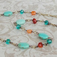 Turquoise and Orange Carnelian stone necklace bronze