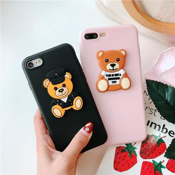 3D moschin brand cute bear soft case for iphone 5 S 6 7 8 plus X XR XS MAX cover for Samsung galaxy S6 S7 edge S8 S9 note 8 9