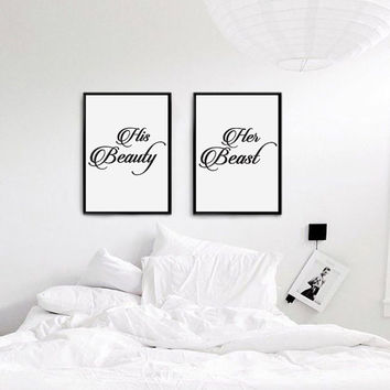 "Mr and Mrs Bedroom Print, ""His beauty Her beast"", Wall Decor, Bedroom Decor, Minimal Print, Fashion Print, Wedding Poster, Wedding Gift."