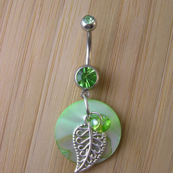 Belly Button Ring Jewelry ~ Organic Filigree Leaf Green Sea Shell Czech Glass Beaded Long Charm Mother of Pearl Dangle Navel Piercing