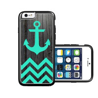 RCGrafix Brand Teal Anchor On Dark Wood iPhone 6 Case - Fits NEW Apple iPhone 6