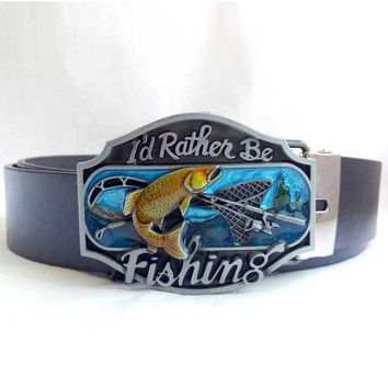 I'd Rather Be Fishing Belt Buckle & Belt