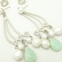 Amazonite White Freshwater Pearl Sterling Chandelier Earrings Long