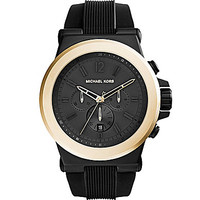 Michael Kors Dylan Black Strap Gold Bezel Watch
