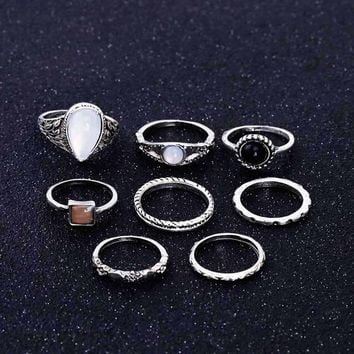 8PCS /Set Rings Wedding Jewelry Vintage Carved Flower Water Drops Opal Shell Resin Boho Ring For Women