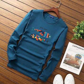 Autumn and winter Fish printing Long Sleeve cotton Slim Fit T-shirt Men's