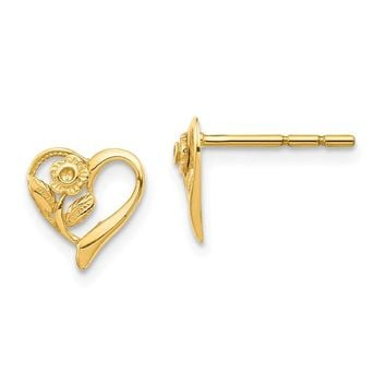 14k Yellow Gold Heart with Flower Post Earrings