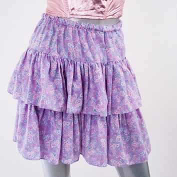 80s vintage floral tiered lavender ruffle skirt, 1980s fashion clothing pink purple, spring 2014 retro vtg urban outfitters retrofit