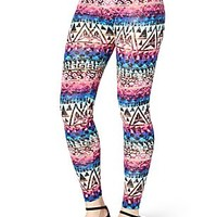 Multi-Colored Distressed Tribal Legging
