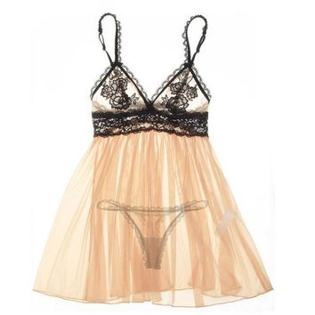 Sexy Cute On Sale Hot Deal Luxury Embroidery Set Transparent Lace Exotic Lingerie [6595912771]