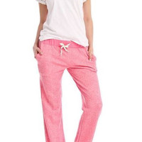 Sweatshirt Knit Lounge Pants in Heather Fuchsia