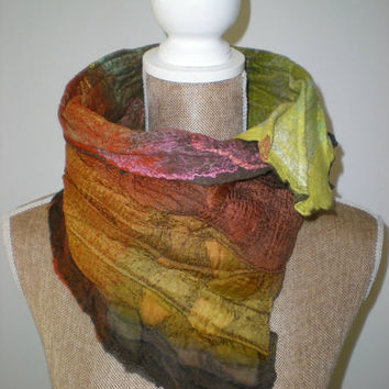 Nuno Felted Scar, Cowl from  Merino Wool 18 mic. and Pure Silk Fabric.
