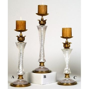 Jene's Brass Candle Holder In & Rock Crystal