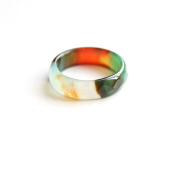 Natural Mix Color Agate Band Ring 5mm. Stackable Gemstone Ring. Faceted Agate Ring. Natural Healing Agate Ring.