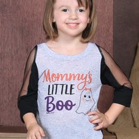 Southern Grace  Girls' Mommy's Little Boo Raglan with Winter Shoulder