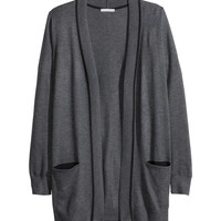 H&M - Fine-knit Cardigan - Dark gray melange - Ladies