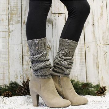 WINTER crochet leg warmers - silver