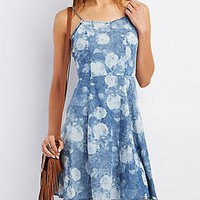 STRAPPY FLORAL CHAMBRAY SKATER DRESS