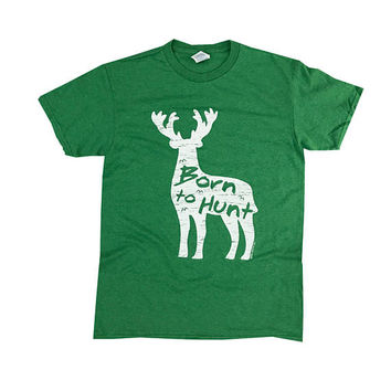 Born to Hunt Graphic Vintage T-Shirt/ PreShrunk Cotton Crewneck Novelty Hunting Tee/ Unisex Deer Animal Kelly Heather Shirt