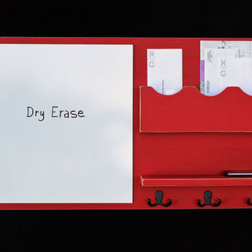 Message Center - Mail Organizer - Dry Erase - White Board - Key Hooks - Coat Hooks - Shelf