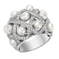 Sterling Silver White Freshwater Cultured Pearl and Rhodium Plated Cubic Zirconia Weave Ring, Size 7