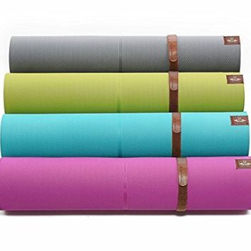 """Heathyoga Eco Friendly Non Slip Yoga Mat, Body Alignment System, SGS Certified TPE Material - Textured Non Slip Surface and Optimal Cushioning, 72""""x 26"""" Thickness 1/4"""" (6mm)"""