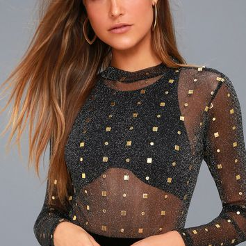 Rooftop Party Black and Gold Print Sheer Mesh Bodysuit