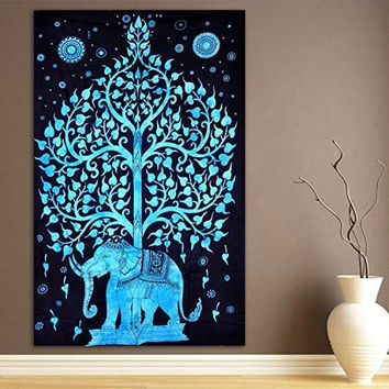 Elephant Under Tree Tapestry, Indian Hippie Wall Hanging