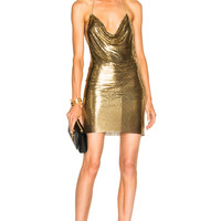 BALMAIN Metallic Halter Dress in Gold | FWRD