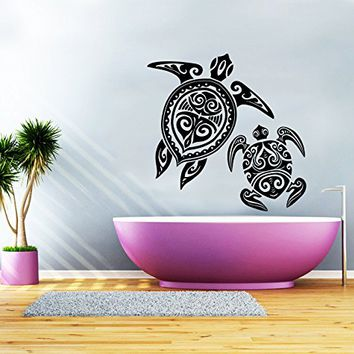 Wall Decal Turtle Sea Turtle Ocean Nautical Decor Vinyl Sticker Decals Bathroom Home Decor Art Design Interior NS414