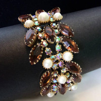 Vintage Pearl & Root Beer Brown Glass Rhinestone Estate Gold Plate Wide Cuff Flower Bracelet 7 1/2""